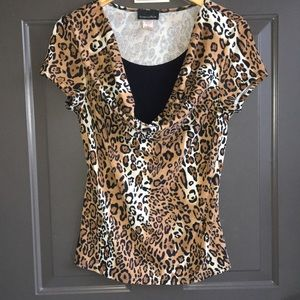 Brittany Black animal Print Top Sz Medium